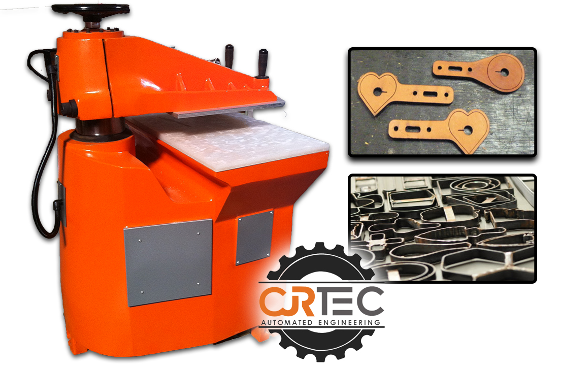swing arm press machines with die cutting steel and products